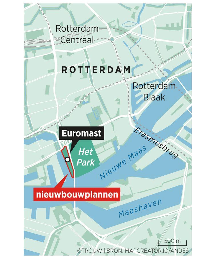 Het beoogde gebied voor nieuwbouw bij de Rotterdamse Euromast. Beeld Sander Soewargana