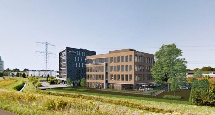 De nieuwbouw van De Jong & laan pal naast de afslag Almelo-Zuid bij de A35