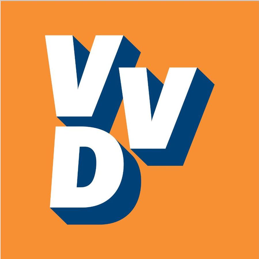 Het logo van de VVD