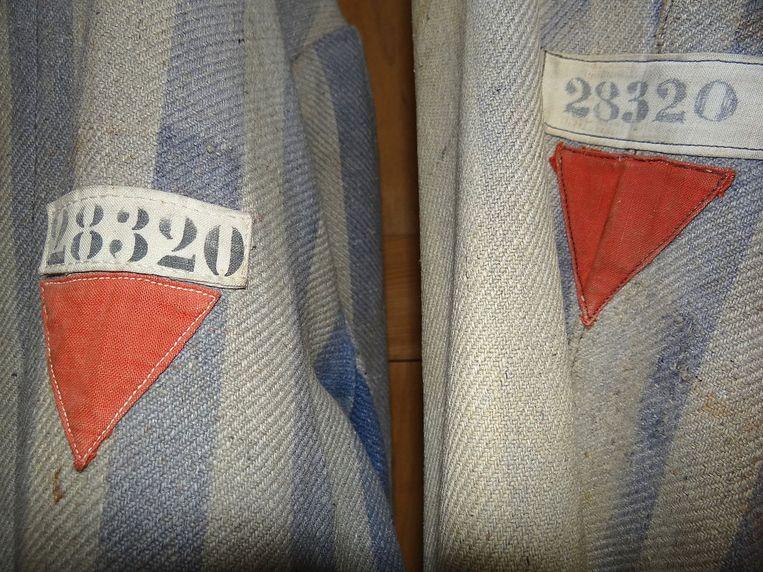 De omgekeerde rode driehoek op kledij van gevangenen van het kamp van Dachau. Beeld rv