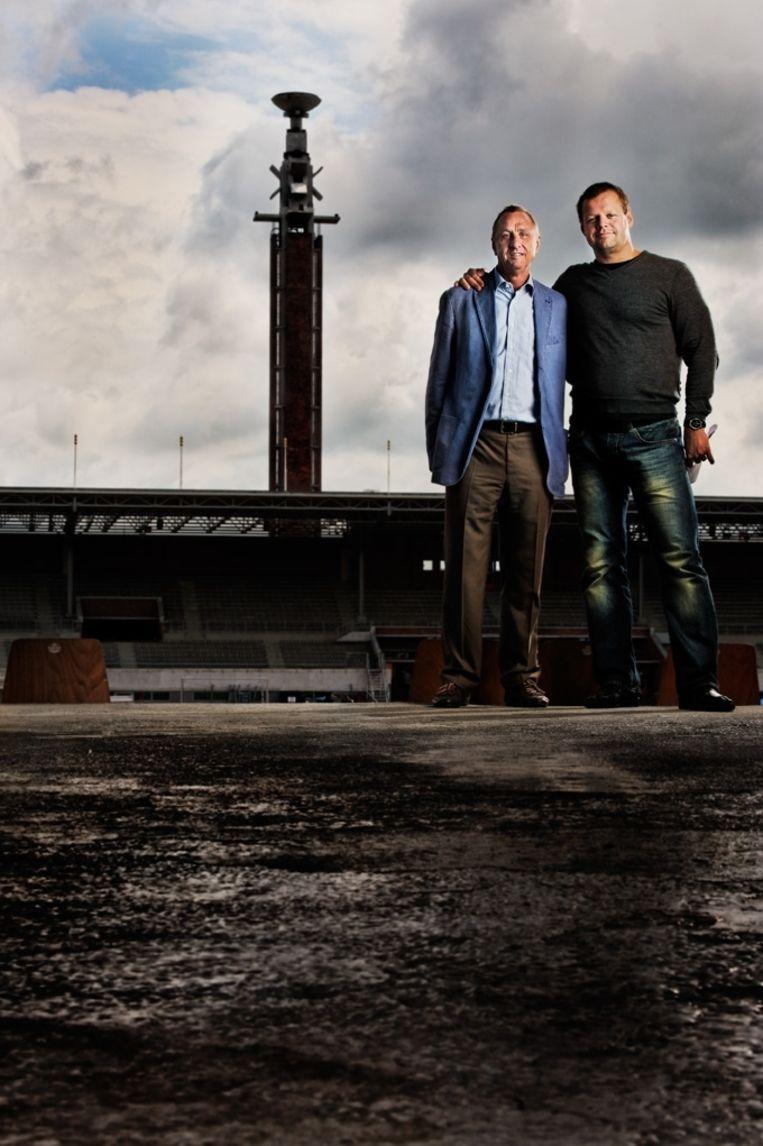 null Beeld Johan Cruijff en Arnoud Groot