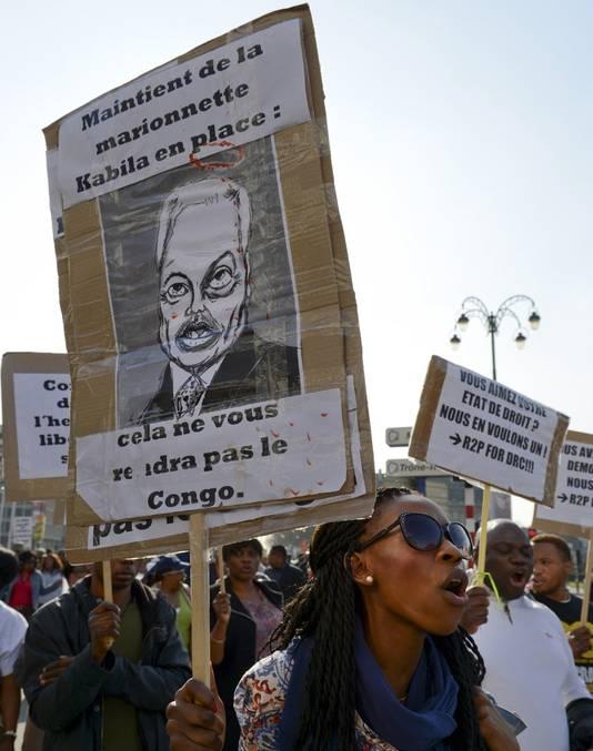 Congolezen demonstreerden vrijdag in Brussel tegen de Congoreis van Didier Reynders.