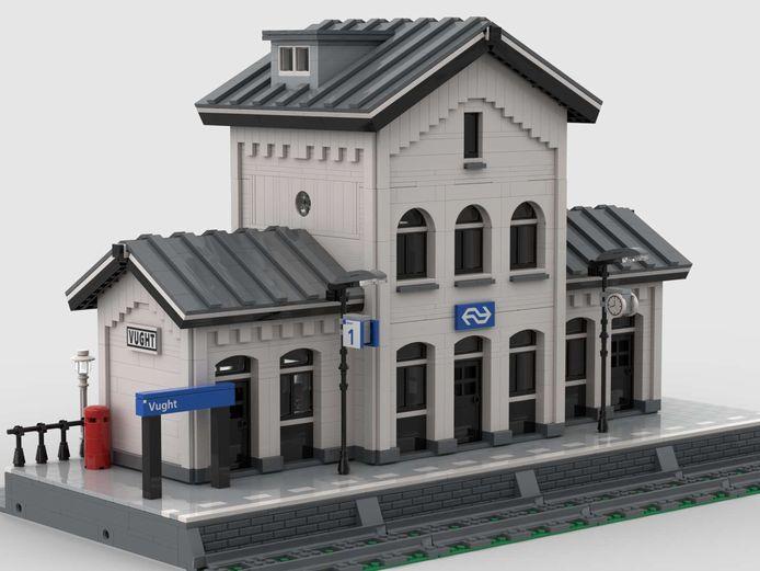 Het station van Vught in Legoblokjes.