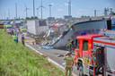 Flink ongeluk op de Belgische snelweg, net over de grens.