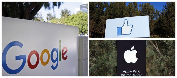 De hoofdkantoren van Google (Mountain View), Facebook (Menlo Park) en Apple (Cupertino).