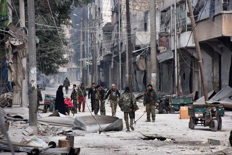 Syrische soldaten in Aleppo. Beeld AFP