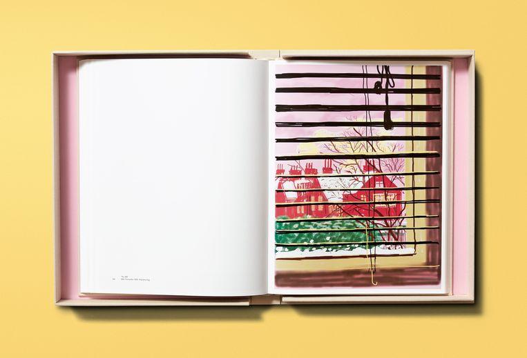 Het Taschen-boek 'David Hockney. My Window', met 120 iPad tekeningen op groot formaat. Beeld RV/Taschen