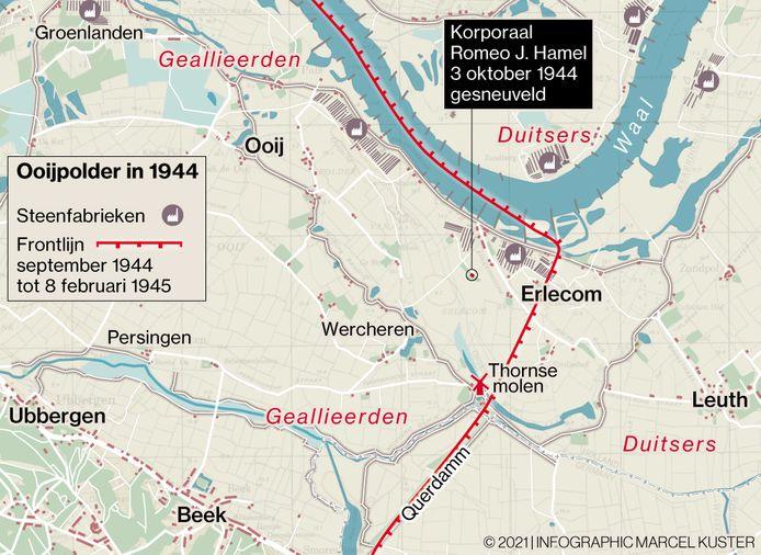 De situatie in Erlecom rond 3 oktober, de dag van de fatale mortieraanval op de Amerikaanse post.