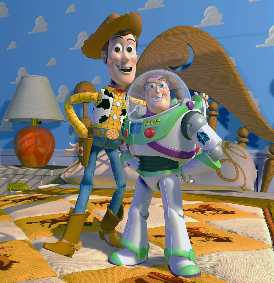 Promobeeld van Woody en Buzz in de allereerste 'Toy Story' uit 1995.