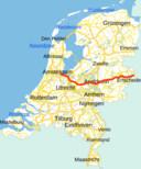 De rode lijn geeft de 157 kilometer lange A1 aan.