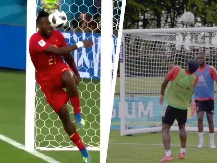 Links: Batshuayi die de bal via de paal tegen zichzelf trapt. Rechts: Batshuayi die de bal in het gezicht krijgt op training