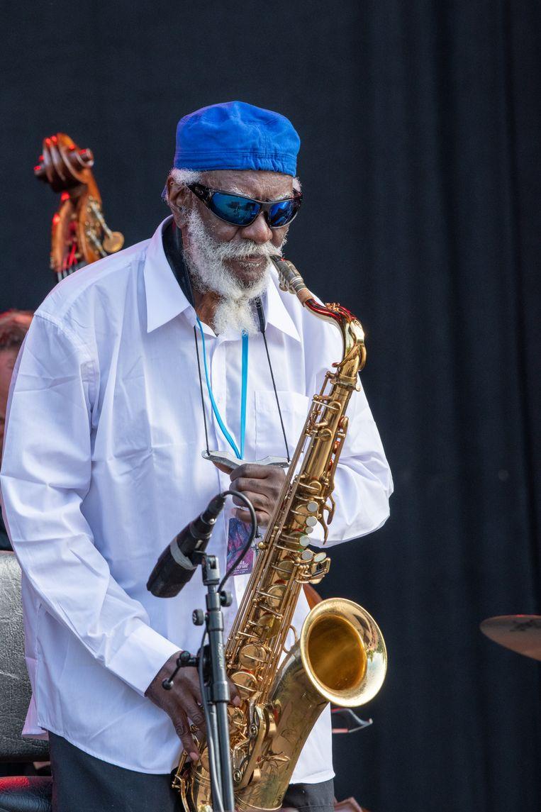 GOTHENBURG, SWEDEN - AUGUST 09:  American jazz legend Pharoah Sanders performs at Way out West on August 09, 2019 in Gothenburg, Sweden. (Photo by Julia Reinhart/Redferns) Beeld Redferns