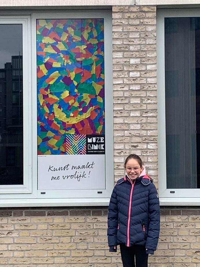 Lieke Graste deed mee aan de wedstrijd voor kinderen en haar kunstwerk is uitgekozen voor de expositie.