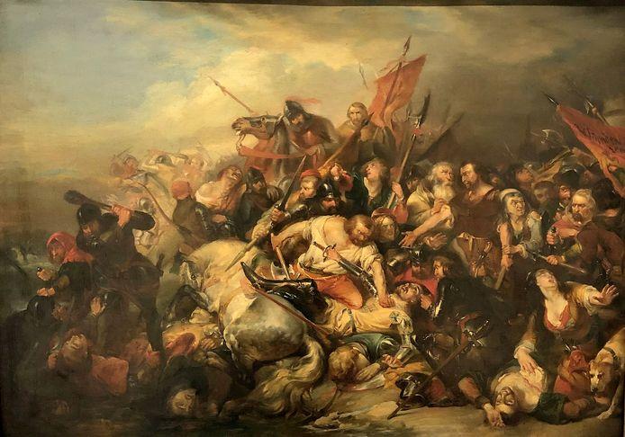 Toestand van het schilderij De Slag der Gulden Sporen voor restauratie