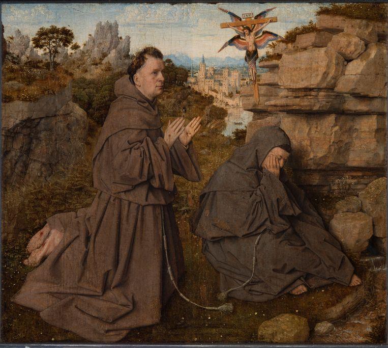 Jan van Eyck, De heilige Franciscus ontvangt de stigmata (1440). Beeld Philadelphia Museum of Art