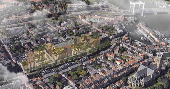 De nieuwe woonwijk aan de Spuiboulevard vanuit de lucht gezien.