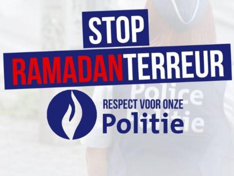De gewraakte afbeelding met het logo van de federale politie. Beeld Twitter Vlaams Belang