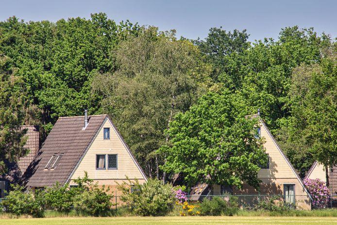 Huisjes op vakantiepark Katjeskelder in Oosterhout, gezien vanaf de Vrachelsebaan.