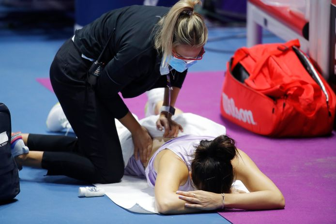 Margarita Gasparyan moest opgeven met rugproblemen.