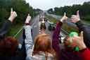 Boeren blokkeerden vorige week met hun trekkers de snelweg.