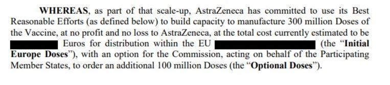 Een deel van het contract waarin de prijs zwart is gemaakt en waarin staat dat AstraZeneca