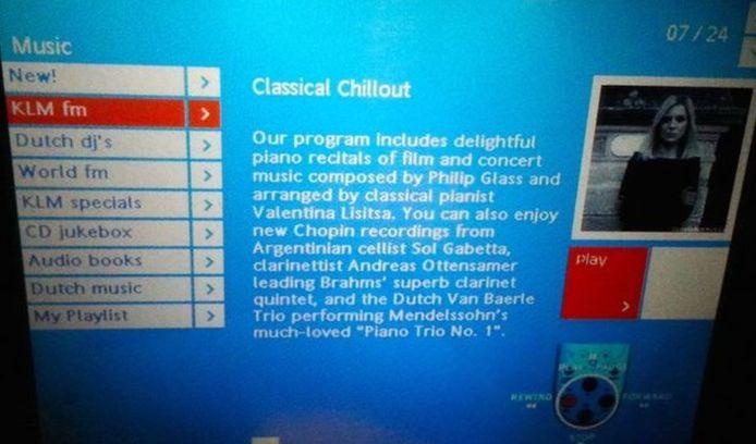 De pagina van Valentina Lisitsa in het aanbod van KLM.