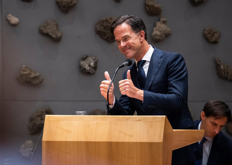Demissionair premier Rutte op dag twee van de algemene politieke beschouwingen. Beeld Freek van den Bergh