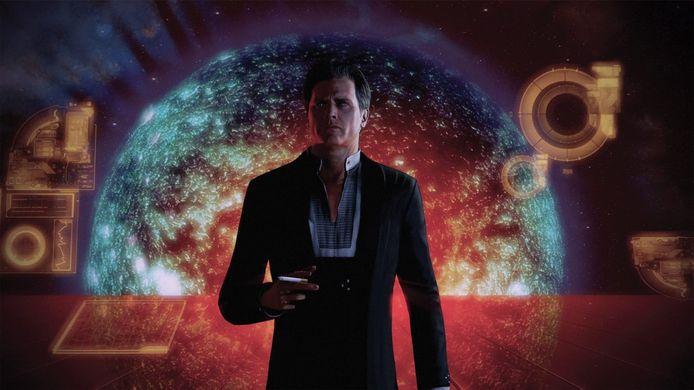De 'Illusive Man' (stem van Martin Sheen), die vanaf het tweede luik een hand heeft in de gebeurtenissen.