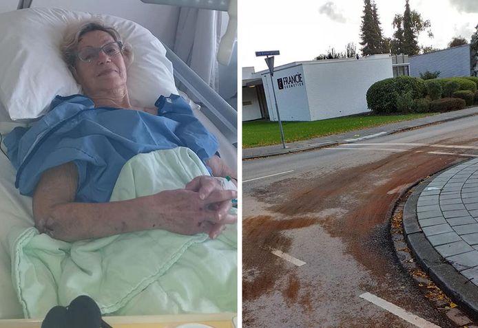 Jenny de Wolf-de Smet in het ziekenhuis. rechts de dieselsporen op kruising Van Kinsbergenlaan/Katspolderlaan