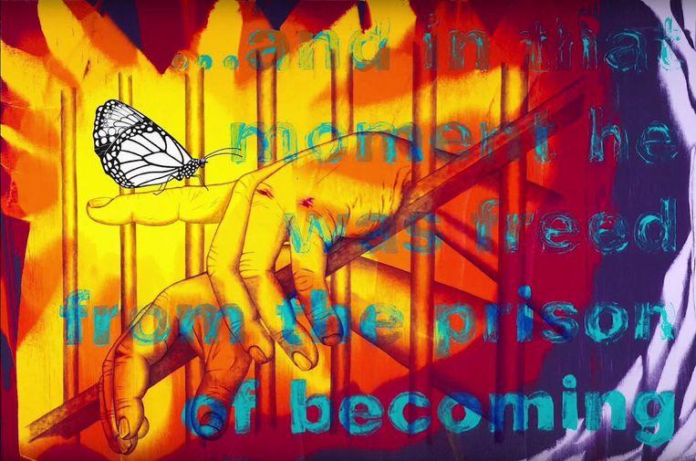 In zijn schilderijen gebruikt Jim Carrey veel kleur. Er is veel interesse voor zijn werk: de minidocu over zijn leven als schilder werd al meer dan vijf miljoen keer bekeken. Beeld RV