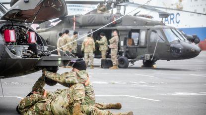 IN BEELD. Amerikaanse militairen strijken neer in Zeebrugge met tientallen helikopters