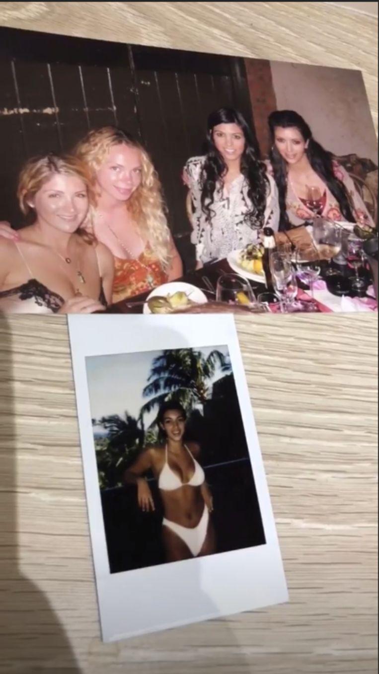 """Op de bovenste foto zaten Kourtney en ik op de unief"", aldus Kim."
