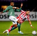 Denzel Dumfries in duel met Mohamed Rayhi