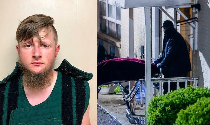 A gauche: le suspect, Robert Aaron Long, est âgé de 21 ans. A droite: la police évacue un crops d'un salon de massage d'Atlanta.