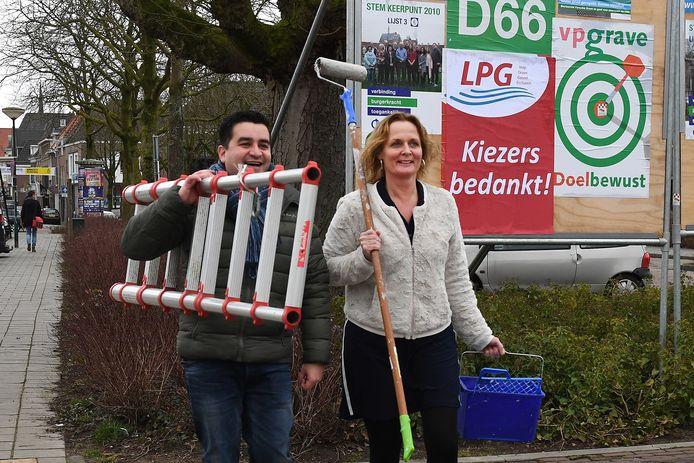 Astrid Bannink en Rick Joosten na de glorieus gewonnen verkiezingen in 2018.