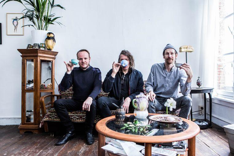 Kunstenaars Dennis Tyfus, Peter Fengler en Vaast Colson. Beeld Thomas Legreve