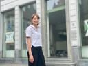 Lisa Deridder voor het voormalige reisbureau.