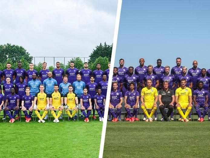Teamfoto van Anderlecht. Dit seizoen versus vorig seizoen.