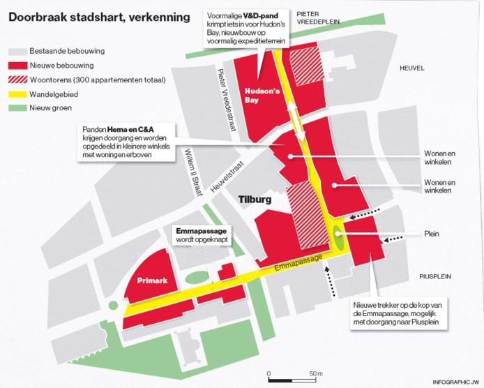 Het plan voor de binnenstad. Afbeelding Brabants Dagblad