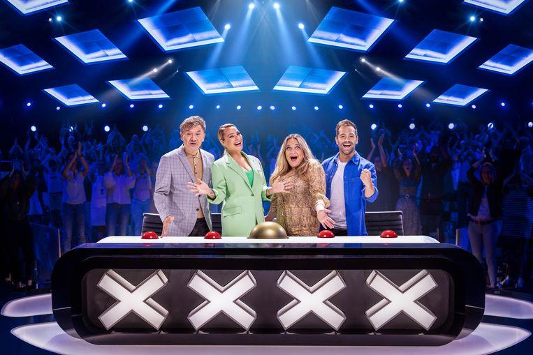 Belgium's Got Talent: Bart Peeters, An Lemmens, Ruth Beeckmans & Davy Parmentier. Beeld VTM
