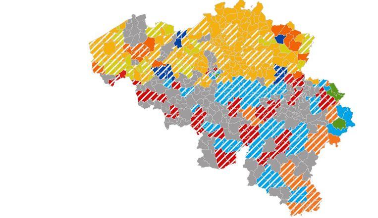 Alle uitslagen van de verkiezingen 2019 in kaart. Beeld Local Focus