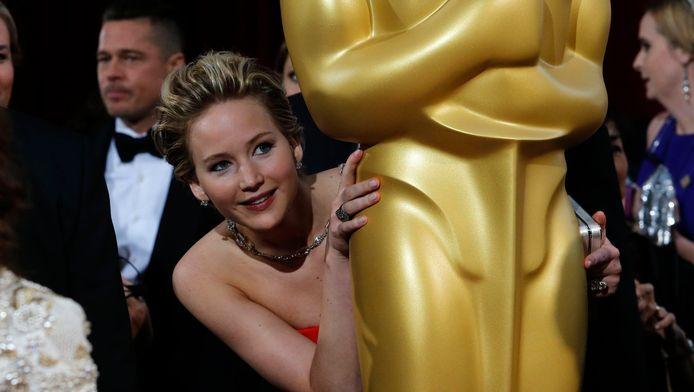 Jennifer Lawrence tijdens de uitreiking van de Academy Awards, in 2014.