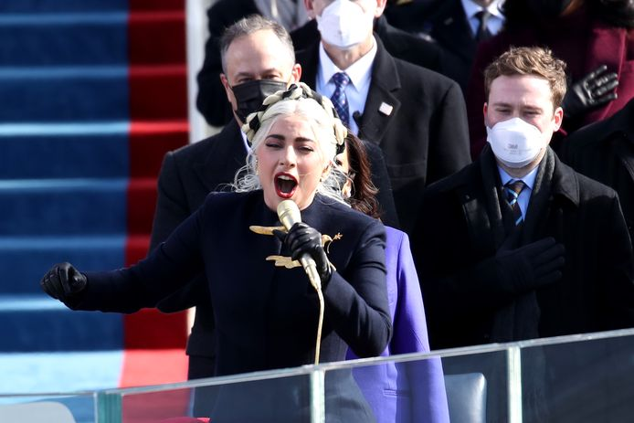 Lady Gaga tijdens de inauguratie