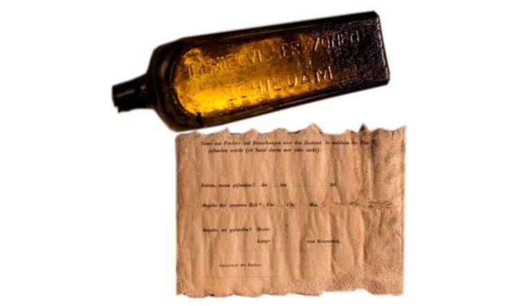 37 jaar is al lang, maar de oudste flessenpost werd een paar geleden gevonden in de deze fles. Het bericht stamt uit 1886.    Beeld Kymillan.com