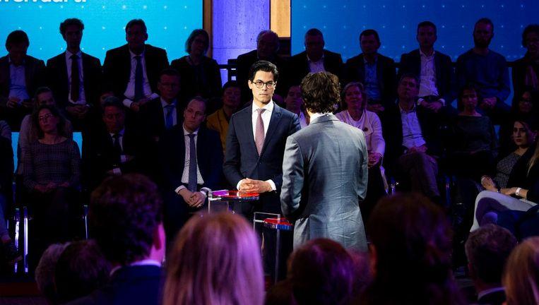 Lijsttrekkers Rob Jetten (D66) en Jesse Klaver (GroenLinks). Beeld anp