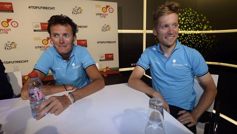 Johan Vansummeren (l) en Jan Bakelants moeten bij AG2R vooral in dienst rijden van kopmannen Péraud en Bardet. Beeld PHOTO_NEWS