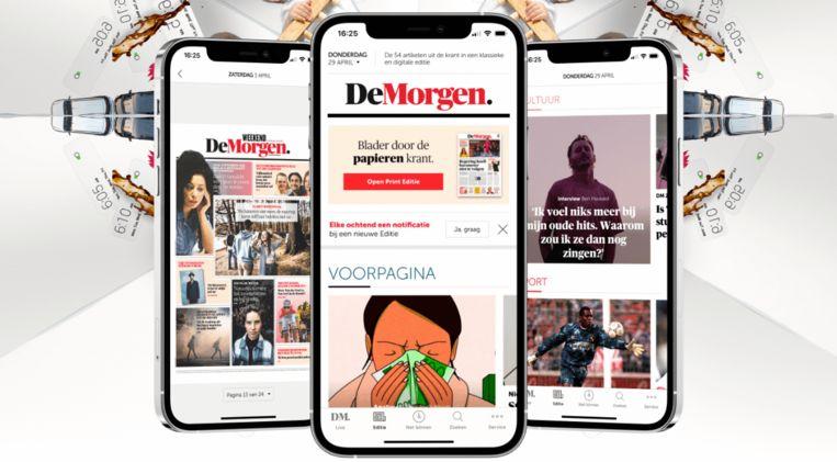 De vernieuwde app van De Morgen. Beeld dm