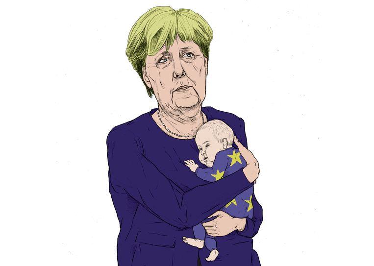 Angela Merkel met zorgenkindje Europa. Beeld Gijs Kast