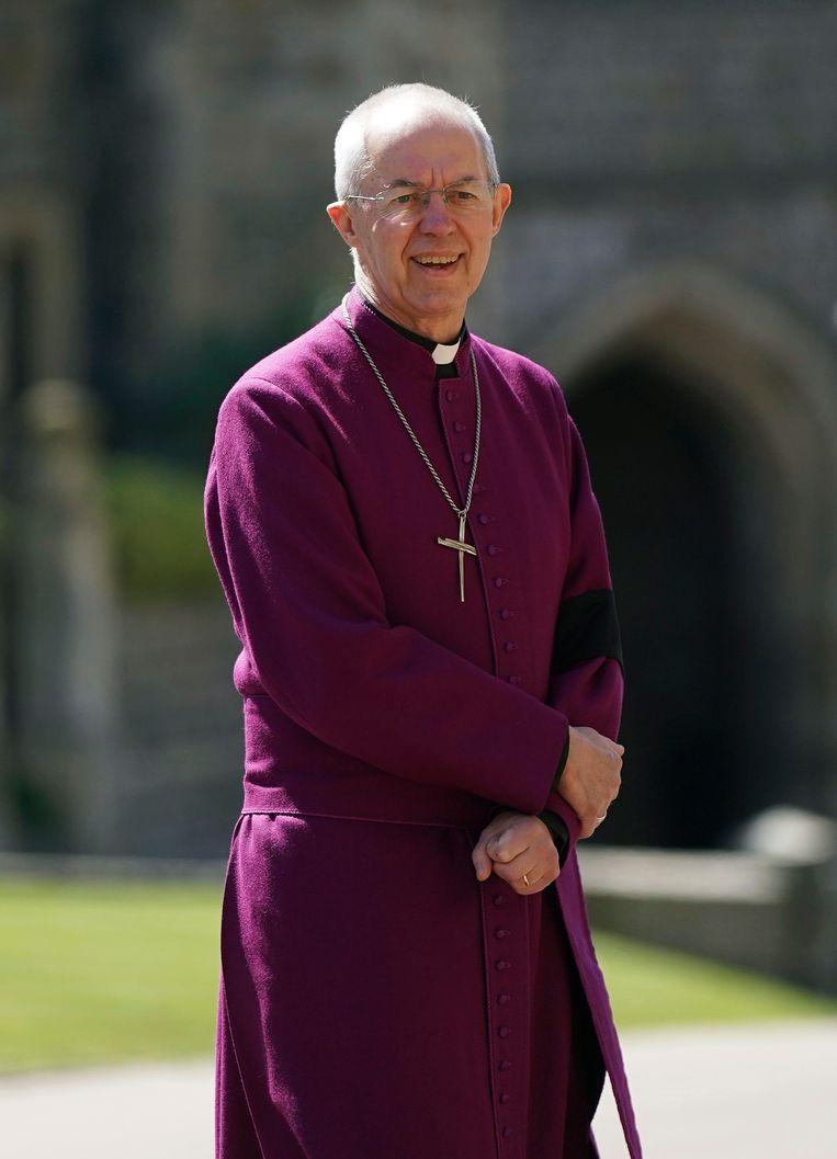 De aartsbisschop van Canterbury Justin Welby staat op zaterdag 17 april 2021 in Windsor Castle in Windsor, Engeland. Beeld AP