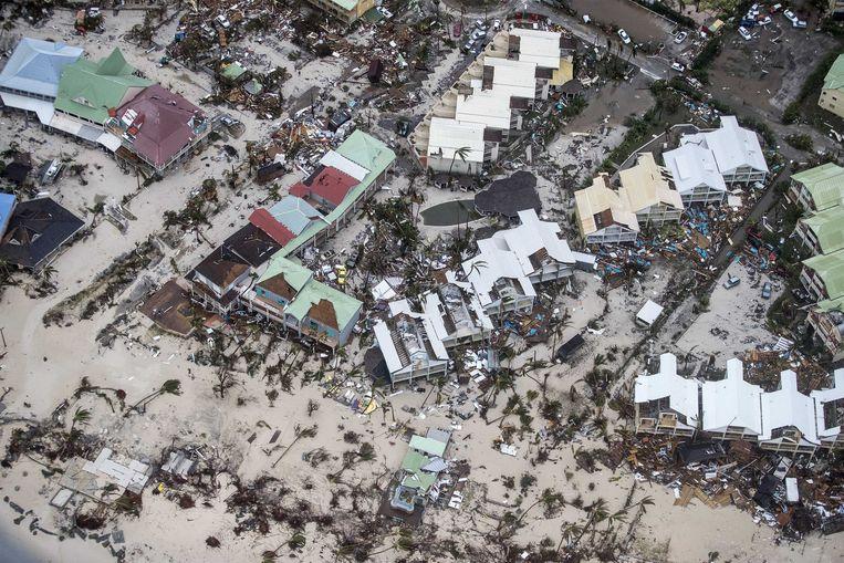 2017-09-06 22:21:06 PHILIPSBURG - Luchtfotografie van de schade op Sint-Maarten van orkaan Irma. De NH90 helikopter van Zr. Ms. Zeeland een eerste verkenningsvlucht gevlogen over de eilanden Saba, Sint Eustatius en Sint Maarten. ANP HANDOUTS MINISTERIE VAN DEFENSIE / GERBEN VAN ES **NO ARCHIVE, NO SALE, EDITORIAL USE ONLY** Beeld ANP Handouts